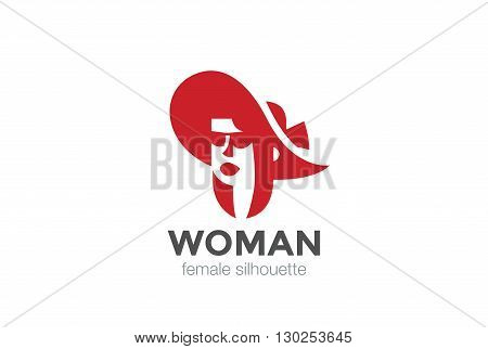 Beautiful Woman Hat silhouette Logo vector Negative space icon