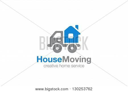 Home service Logo vector template. Moving House by Car icon.