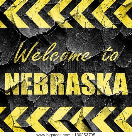 Welcome to nebraska, black and yellow rough hazard stripes