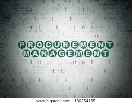Business concept: Painted green text Procurement Management on Digital Data Paper background with Binary Code