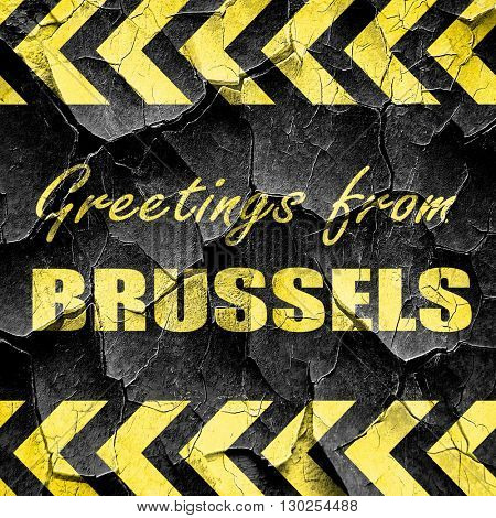 Greetings from brussels, black and yellow rough hazard stripes