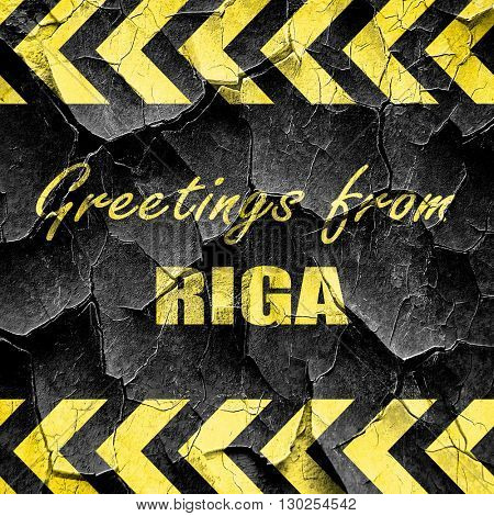Greetings from riga, black and yellow rough hazard stripes