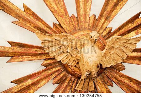 Dove holy spirit made of wood handmade