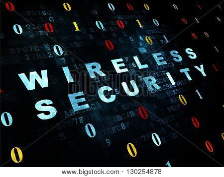 Privacy concept: Pixelated blue text Wireless Security on Digital wall background with Binary Code