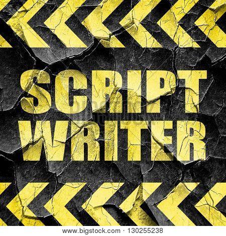 script writer, black and yellow rough hazard stripes