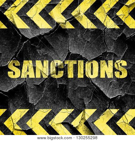 sanctions, black and yellow rough hazard stripes