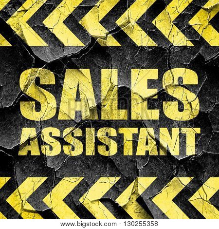 sales assistant, black and yellow rough hazard stripes