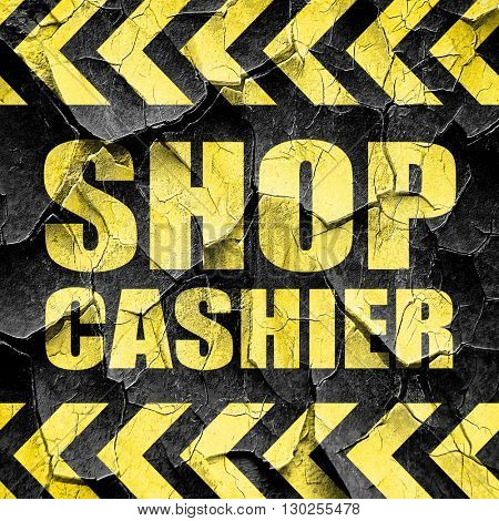 shop cashier, black and yellow rough hazard stripes
