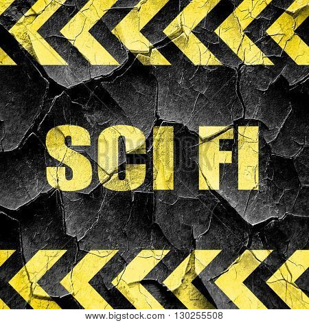 sci fi, black and yellow rough hazard stripes