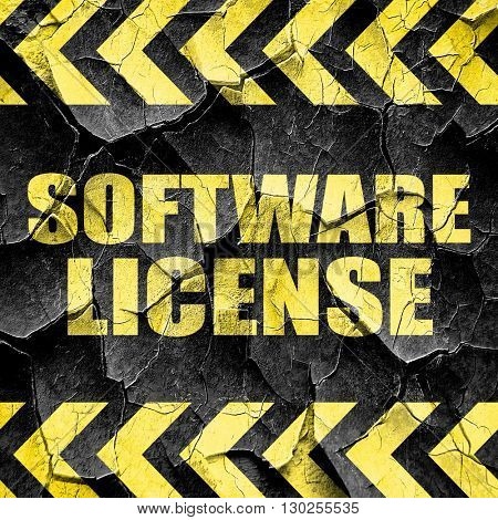 software license, black and yellow rough hazard stripes
