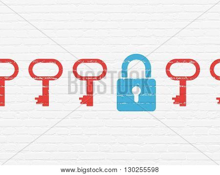 Protection concept: row of Painted red key icons around blue closed padlock icon on White Brick wall background