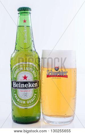 São Paulo Brazil - MAY 14 2016: Bottle of Heineken Lager Beer on white background.