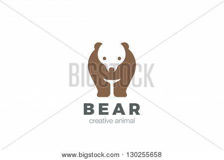 Bear funny silhouette abstract Logo design vector Negative space