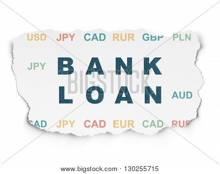 Banking concept: Painted blue text Bank Loan on Torn Paper background with  Currency