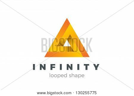 Triangle Infinity Looped Geometric Logo design vector impossible