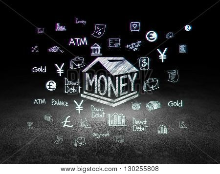 Currency concept: Glowing Money Box icon in grunge dark room with Dirty Floor, black background with  Hand Drawn Finance Icons