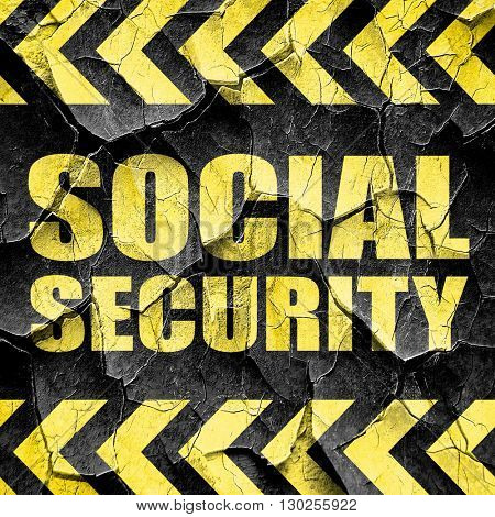 social security, black and yellow rough hazard stripes