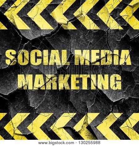 social meda marketing, black and yellow rough hazard stripes