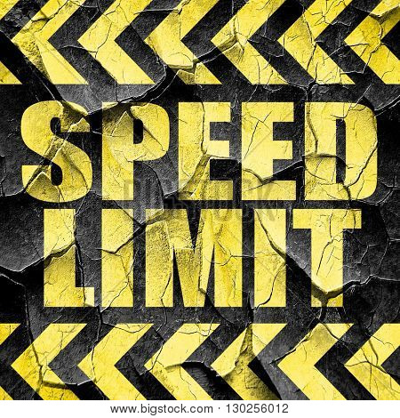 speed limit, black and yellow rough hazard stripes