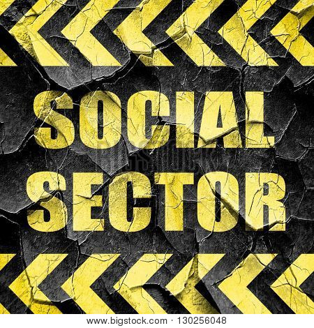 social sector, black and yellow rough hazard stripes