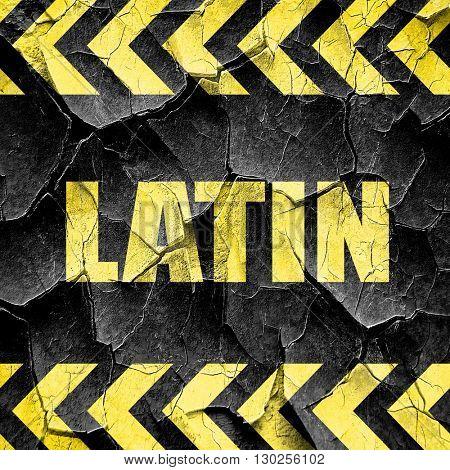 latin music, black and yellow rough hazard stripes