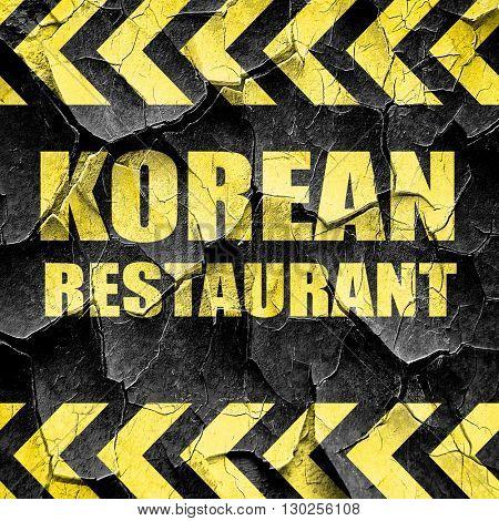 Delicious korean cuisine, black and yellow rough hazard stripes