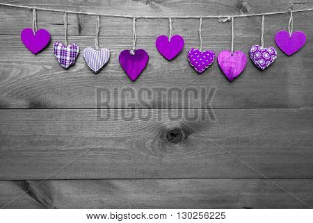 Wooden Background With Purple Hearts Hanging In A Row. Black And White Style With Colored Hot Spots. Copy Space For Advertisement Or Free Text. Greeting Card For Mothers Or Valentines Day