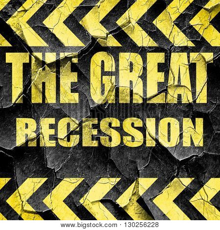 Recession sign background, black and yellow rough hazard stripes