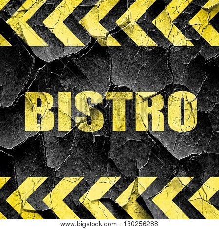 bistro sign background, black and yellow rough hazard stripes