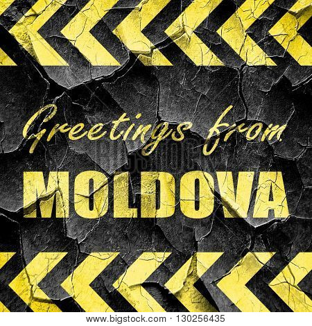 Greetings from moldova, black and yellow rough hazard stripes