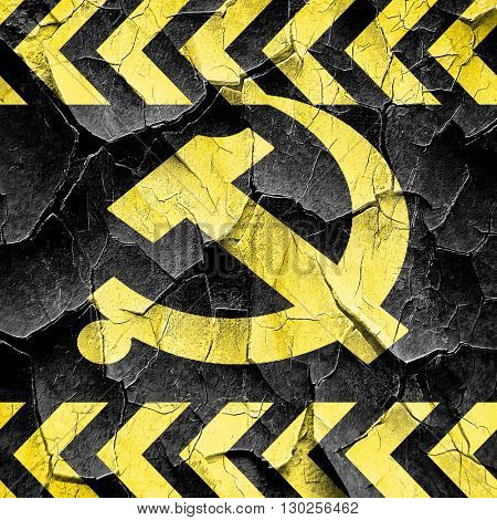 Communist sign with red and yellow colors, black and yellow roug
