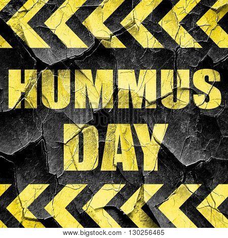 hummus day, black and yellow rough hazard stripes
