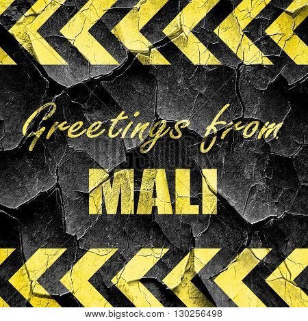 Greetings from mali, black and yellow rough hazard stripes