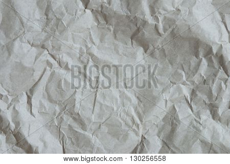 Crumpled Paper As Texture Or White Background. Rustic, Vintage Or Retro Styple. Copy Space For Advertisement Or Your Free Text Here