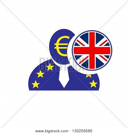 European union man icon with euro symbol and United Kingdom flag symbolizing the Britain leaving the EU. Brexit. Vote in referendum.
