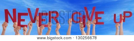 Many Caucasian People And Hands Holding Red Letters Or Characters Building The English Words