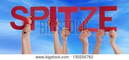 Many Caucasian People And Hands Holding Red Straight Letters Or Characters Building The German Word