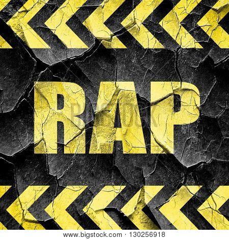 rap music, black and yellow rough hazard stripes