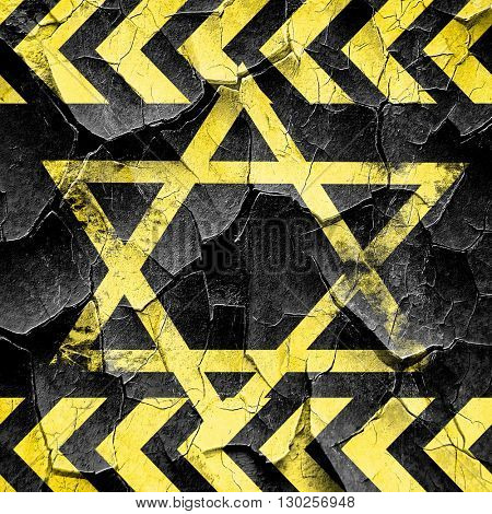Star of david, black and yellow rough hazard stripes