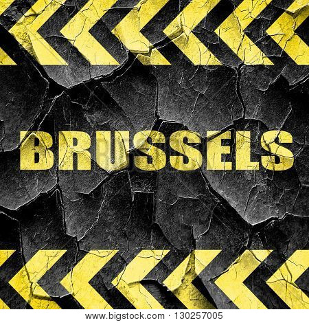 brussels, black and yellow rough hazard stripes