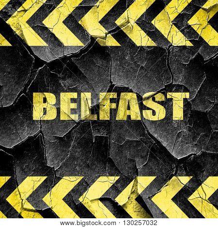 belfast, black and yellow rough hazard stripes