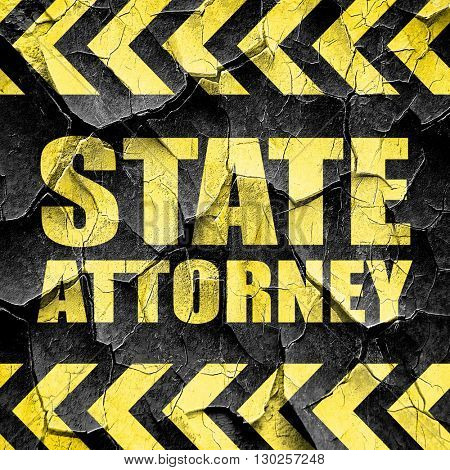 state attorney, black and yellow rough hazard stripes