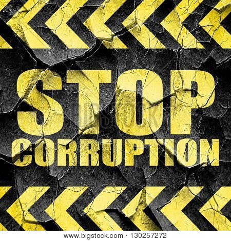 stop corruption, black and yellow rough hazard stripes