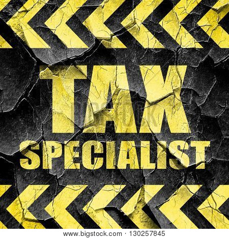 tax specialist, black and yellow rough hazard stripes