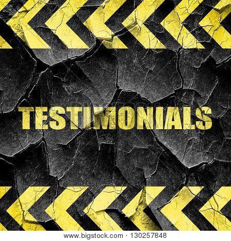 testimonials, black and yellow rough hazard stripes