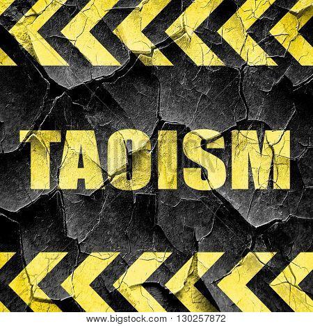 taoism, black and yellow rough hazard stripes