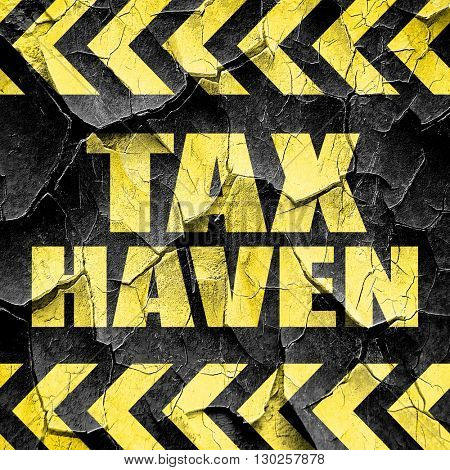 tax haven, black and yellow rough hazard stripes