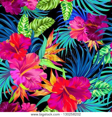 seamless pattern with hibiscus palms tropical flowers and leaves. Colorful vibrant art illustrations with amazing details and very intensive colors. Busy allover layout with summer botanical flowers. Design for fashion swimwear interior stationery.