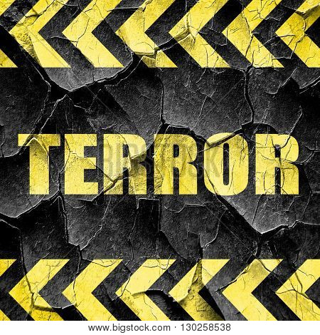 terror, black and yellow rough hazard stripes