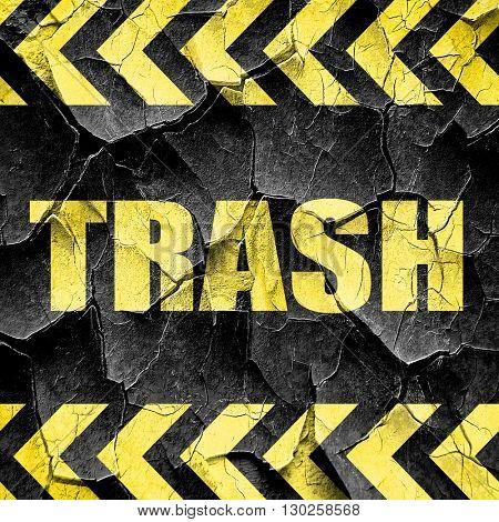 trash, black and yellow rough hazard stripes